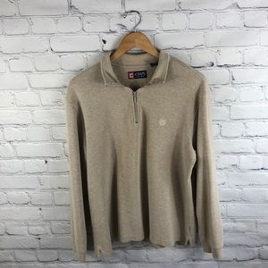 Chaps Men's Tan Long Sleeve Collar Sweater